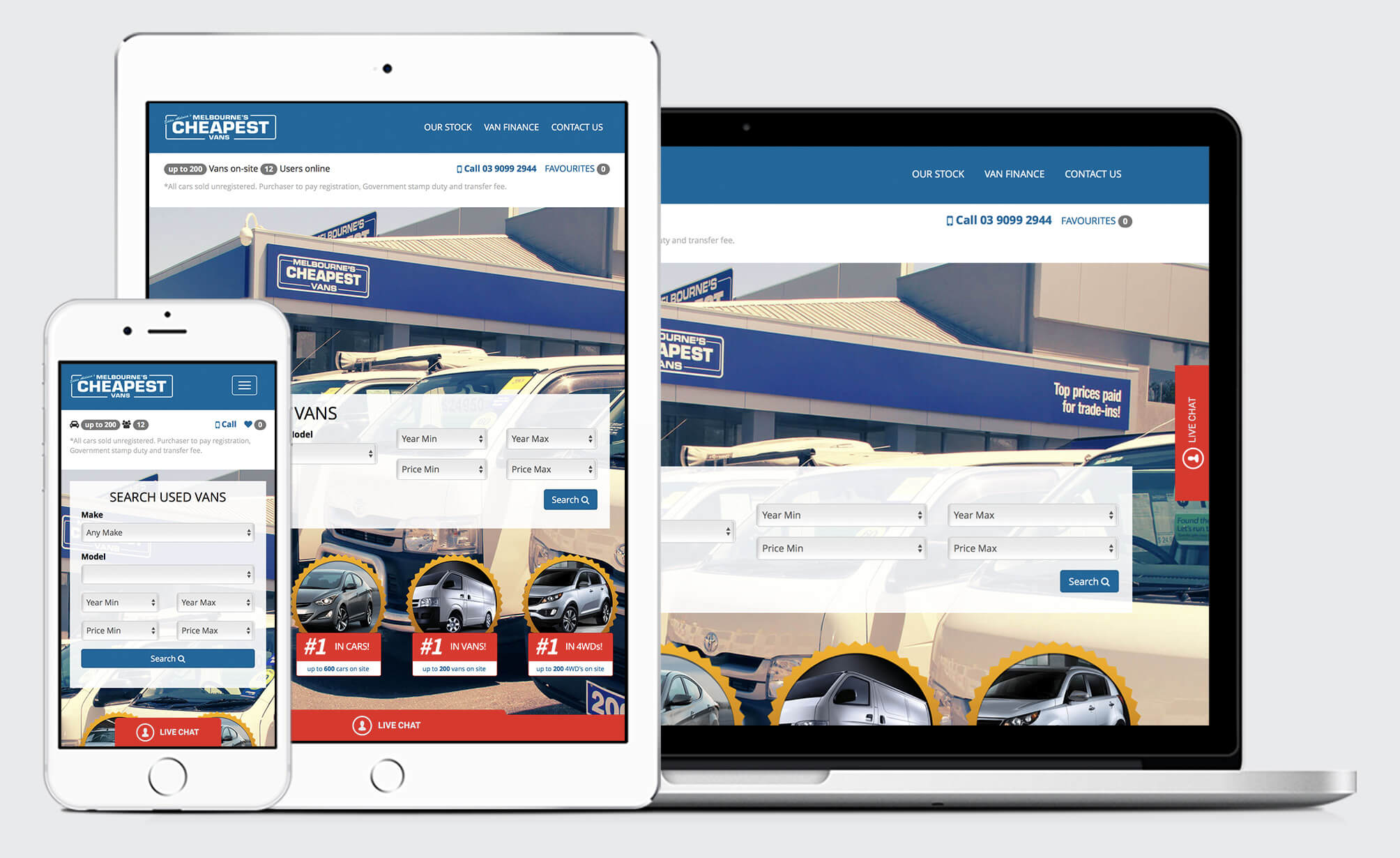 Melbourne's Cheapest Vans WordPress responsive website design